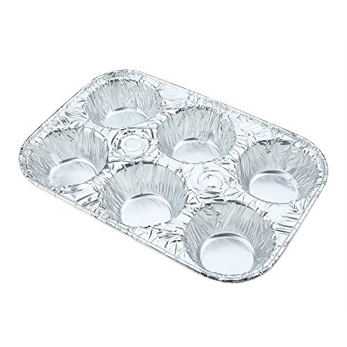 Pack of 20 Silver Foil Muffin Pans – Durable & Non-Stick Disposable Aluminum 6-Cup Cupcake Trays – Perfect Tin Size for Cupcakes, Mini Pies, Mini Quiche, Soufflé - Standard Size by DCS Deals (Image #1)