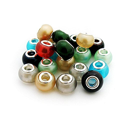 TOAOB 50pcs Lampwork Murano Glass Beads Wholesale Multi Large Hole Beads 14mm Assorted Beads for European Snake Chain Charm Bracelet (Glass Lampwork Crystal)