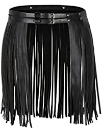 Women's Faux Leather Stylish Fringe Tassel Skirt Belt Rave Dance Festival Clothing