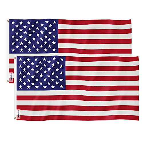 (American Flag 3x5 Foot 2PACKS,Nylon US Flags with Bright Vivid Color and Premium Material for Outdoor,Longest Lasting USA Flags 3x5 for Outside(Breeze Style))
