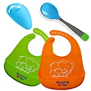 Unisex Silicone Baby Bibs – Waterproof, Stain Resistant Baby Bibs –Dribble Bibs with Pocket for Babies & Toddlers (2 Pack)– Soft and Hygienic Toddler Bibs with FREE Feeding Spoon and Faucet Extender