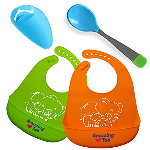 Unisex Silicone Baby Bibs - Waterproof, Stain Resistant Baby Bibs -Dribble Bibs with Pocket for Babies & Toddlers (2 Pack)- Soft and Hygienic Toddler Bibs with FREE Feeding Spoon and Faucet Extender