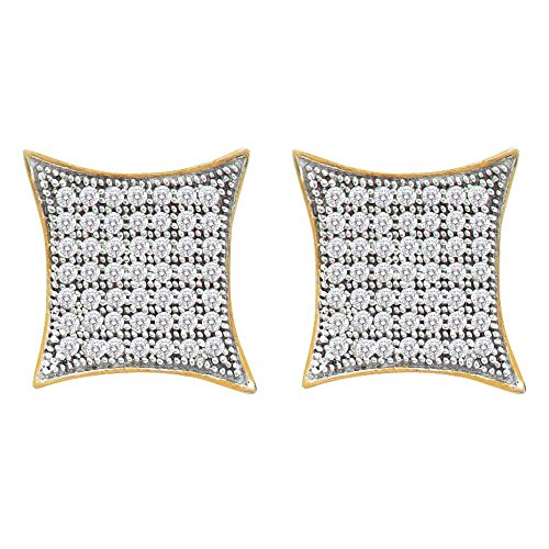 Roy Rose Jewelry 10K Yellow Gold Womens Round Pave-set Diamond Square Kite Cluster Earrings 1/3-Carat tw