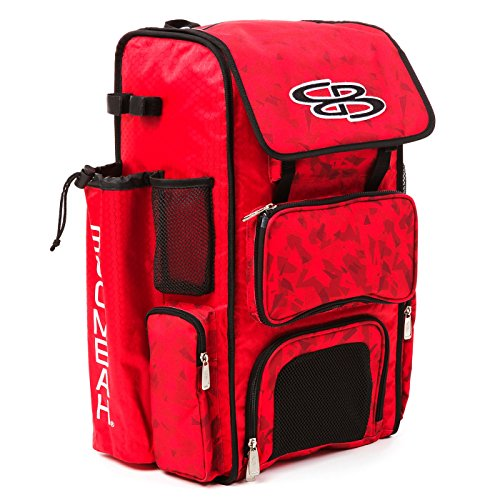 Boombah Superpack Bat Pack -Backpack Version (no Wheels) - Holds 2 Bats - Stealth Camo Red - for Baseball or Softball