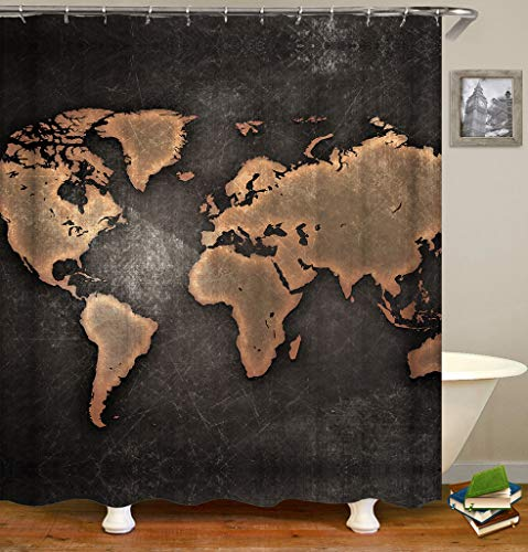 Youni Decorative Shower Curtain The World Map Like Made of Copper on The Black Iron Plate Factory Style Bathroom Decor Machine Washable Antibacterial Polyester Fabric Bath Curtain 72 x 72 inches