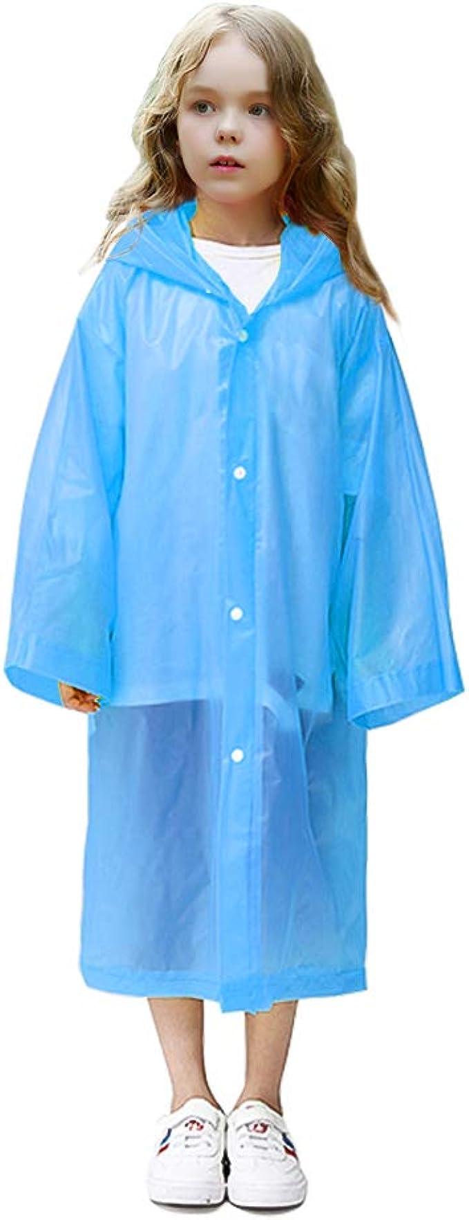 VCOSTORE Kids Rain Coat Clear Rain Poncho Wrinkle Free Hooded Rainwear for Boys Girls Age 3-12