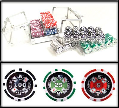 600 Ct Ace Casino Acrylic Poker Chip Set with 6 Clear Chip Trays