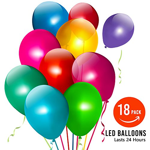 LED Flashing Light Balloons Set Mixed Color Great for All Parties (Pack of 18) - LED Balloons (Easy Ideas Centerpiece 24 Christmas)
