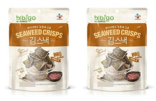 Korean CJ Bibigo Oven Baked Brown Rice and Seaweed Crisps 20g (Pack of 2) ()