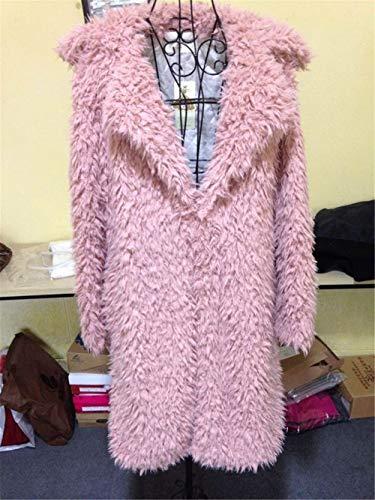 Modo Elegante Donna Capispalla Inverno Stile Cappotti Rosa In Di Giacche Peluche Corto Giacca XXRq0