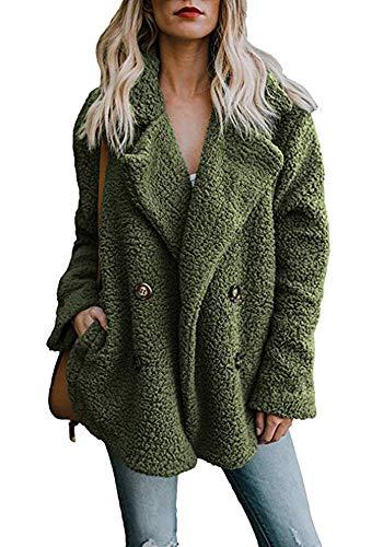 Adogirl Women Winter Warm Open Front Fleece Outwear Cardigan Jacket Coat with Pockets
