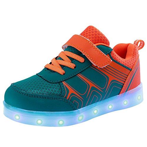 iBaste USB carga niños colorido luminosos zapatos de Velcro para los muchachos llevaron luz de Flash zapatos colores 3