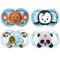 Chupetes RazBaby Keep-It-Kleen - Paquete de 4 (Pez payaso Finley, Pingüino Ethan, Cachorro Percy y Panda Panky)