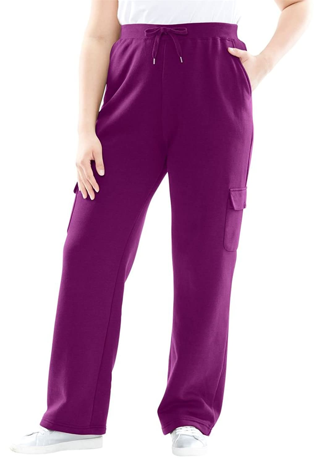 Women's Plus Size Pants In Soft Knit Better Fleece With Cargo Pockets,