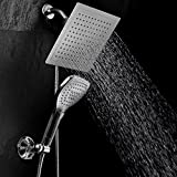 "DreamSpa® Ultra-Luxury 9"" Rainfall Shower Head / Handheld Combo. Convenient Push-Button Flow Control Button for easy one-handed operation. Switch flow settings with the same hand! Premium Chrome"