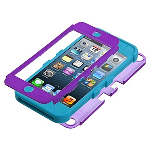iPod Touch 5th Gen/6th Gen Case, Insten Tuff Dual Layer [Shock Absorbing] Protection Hybrid Rubberized Hard PC/Silicone Case Cover For Apple iPod Touch 5th Gen/6th Gen, Purple/Light Blue