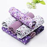 Image of KINGSO 7PCS Cotton Fabric Bundles Quilting Sewing DIY Craft 19.7x19.7inch Purple