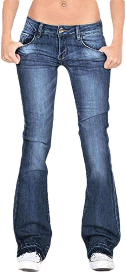 Romancly 女性フレア脚 ポケット ミッド ウエスト トリム フィット カジュアル レジャー デニム パンツ