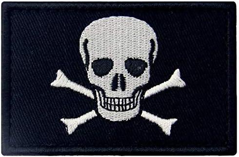 Bandera pirata de Jolly Roger Broche Bordado de Gancho y Parche de Gancho y bucle de cierre: Amazon.es: Hogar