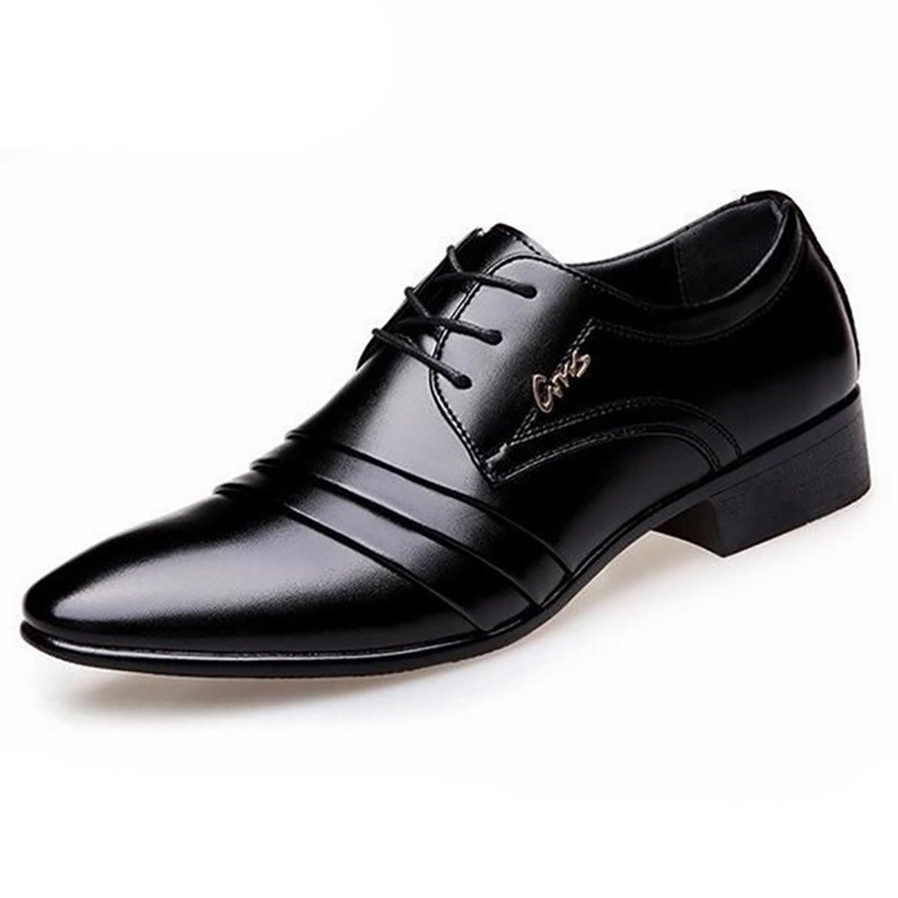 High Class Luxury Fashion Oxford Formal Wedding Shoes Business Office Casual Synthetic Leather Pointed Toe Lace-up Rubber Sole Comfortable Breathable for Adult Men (10, Black 4)