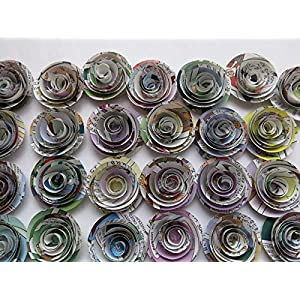 "Comic Book Page Roses, Paper Flowers Wedding Decorations, 24 Piece Set, 1.5"" Rosettes, Floral Bridal Shower Table Runner Decor, Baby Shower, Superhero Party Theme, Birthday 2"