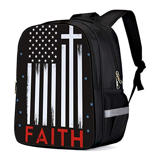 Black and White Students Backpack for School Bookbag Casual Shoulder Daypack Travel Back Pack Bags for Teen Boys Girls, Independence Day Faith American Flag