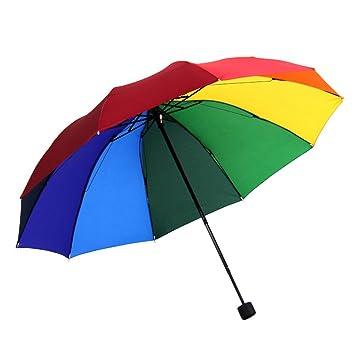 Paraguas arcoiris impermeable paraguas esqueleto triángulo doblar 10 refuerzo de hueso lluvia y paraguas de lluvia