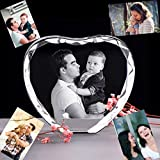 2D Laser Engrave Custom Photo Crystal Heart Shape