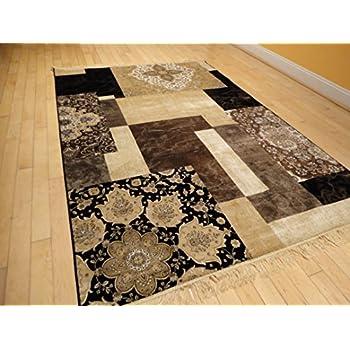 Luxury Silk Area Rugs 5x8 Modern Rug For Living Room Black Brown Beige Cream  5x7 Rugs