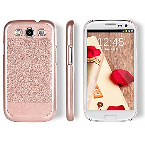 Galaxy S3 Case, BENTOBEN Sparkly Bling Hybrid Slim Hard Cover Laminated with Luxury Shiny Synthetic Leather Protective Case for Samsung Galaxy S3 Rose (Galaxy S3 Phone Cases Samsung)