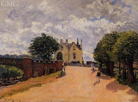 alfred-sisley-inn-at-east-molesey-with-hampton-court-bridge-1874-hand-painted-art-reproduction-with-