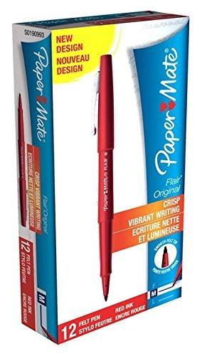 (Paper Mate Flair Original Fibre Tip Pen Medium 1.0mm Pack of 12)
