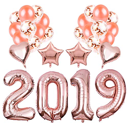 28Pcs Rose Gold Color Foil Balloons, 2019 Birthday Graduation Ornament New Year Eve Holiday Party Supplies]()