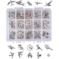 PH PandaHall 90 Pieces 15 Style Antique Silver Tibetan Alloy Birds Charms for DIY Jewelry Making