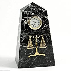 KensingtonRow Home Collection Clocks - Scales of Justice Desktop Clock - Legal & Lawyers - Marble Clock