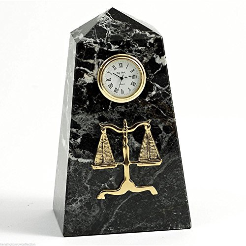 KensingtonRow Home Collection Clocks - Scales of Justice Desktop Clock - Legal & Lawyers - Marble - Table Kensington Clock
