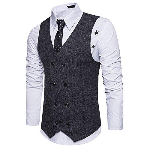 Vest V Fit De Noir Pour Vertvie Costume Col Slim Casual Business Gilet Mariage Homme 5nR8aYqWf