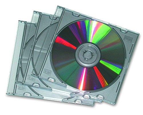 Fellowes 25Pk. CD Cases Slimline Jewel Cases for 1 CD case, Silver-Metallic Silver ()