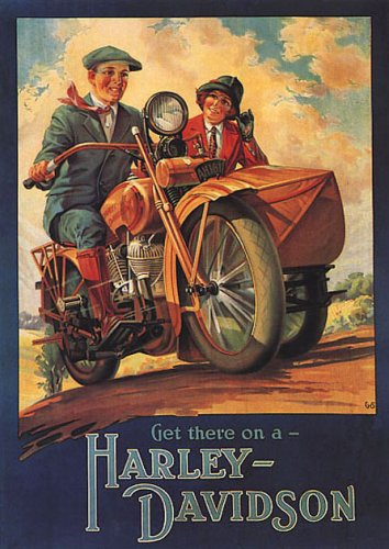 Motorcycle Get There On A Harley Davidson Couple American Bike Vintage Poster Repro