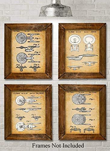 Star Trek Original USS Enterprise Patent Prints - Set of Four Photos (8x10) Unframed - Great Gift for Trekkies