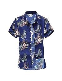 Turn Down Collar Shirts for Men,Hawaii Short Sleeve T-Shirt Fashion Slim Loose Printed Tops