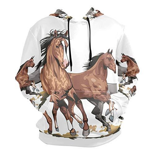 Running Horse Art Hoodies 3D Print Athletic Hooded Sweatshirts for Men Girls Boys(Health Fabric)