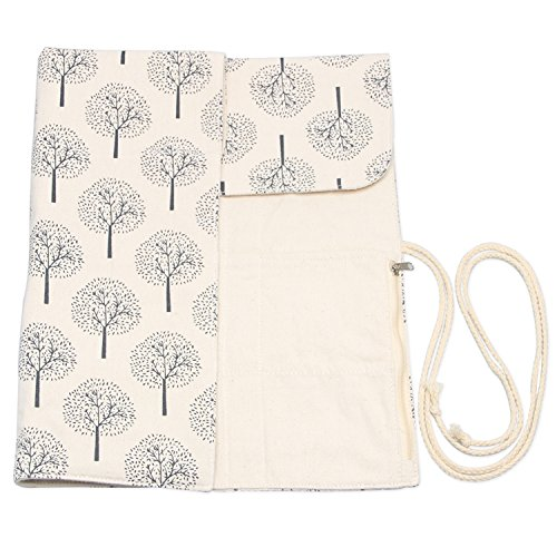 Teamoy Tunisian Crochet Hook Organizer Bag(up to 14 Inches), Cotton Canvas Roll Wrap for Afghan Crochet Hooks, Knitting Needles and Accessories, Tree by Teamoy (Image #4)