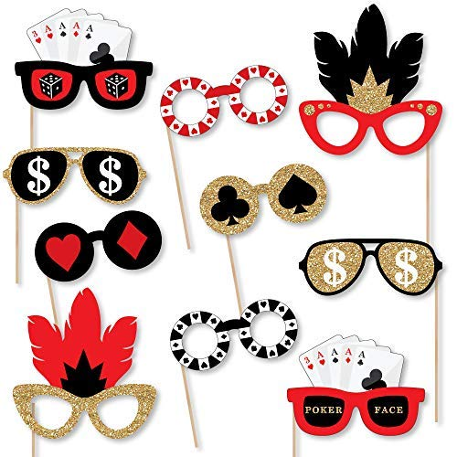 Big Dot of Happiness Las Vegas Glasses - Paper Card Stock Casino Party Photo Booth Props Kit - 10 Count]()