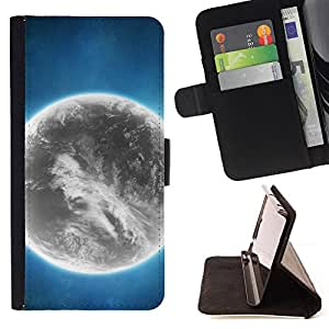 DEVIL CASE - FOR Samsung Galaxy Note 4 IV - Grey Planet Alien World Art Bright Atmosphere - Style PU Leather Case Wallet Flip Stand Flap Closure Cover