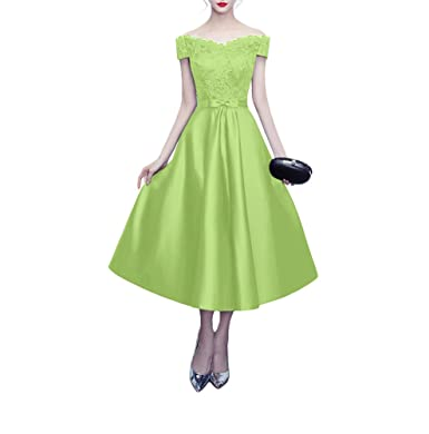 Kevins Bridal Off Shoulder Lace Prom Dress Cap Sleeves Tea Length Cocktail Eveing Gowns Apple Green