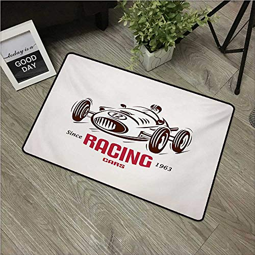 """Anzhutwelve Cars,Carpet Flooring Retro Style Race Car Emblem Formula Automobile Icon Speed Competition W 24"""" x L 35"""" Indoor Floor Mats Bedroom Decor Chesnut Brown Pink White"""
