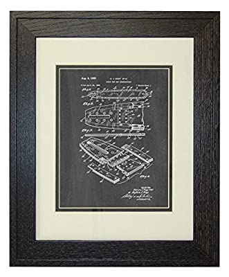 Chain Saw Bar Construction Patent Art Print in a Rustic Oak Wood Frame with a Double Mat
