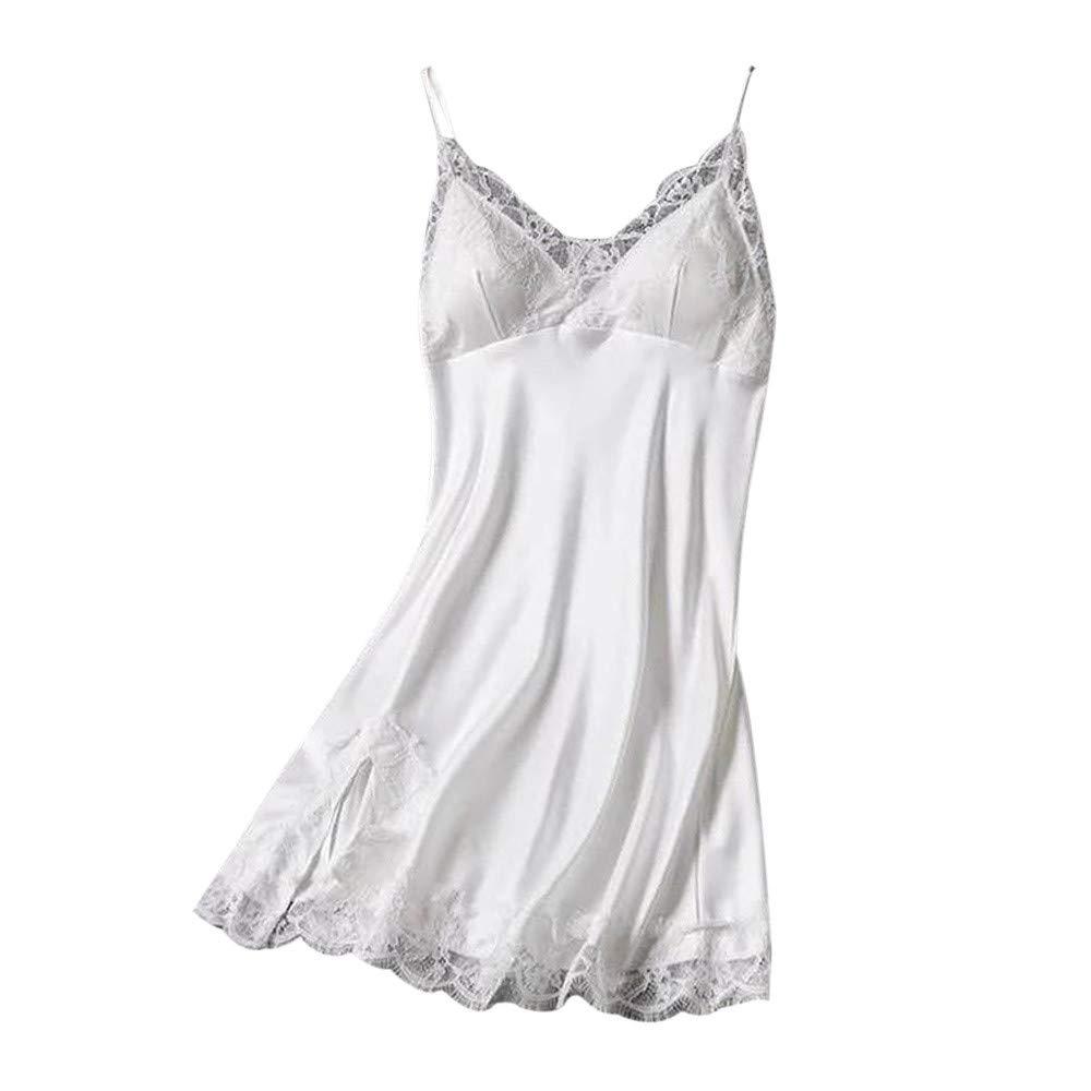 Letdown Sexy Nightgowns for Women Sling Lace Sleepwear Lingerie Temptation Underwear Nightdress (S, White)