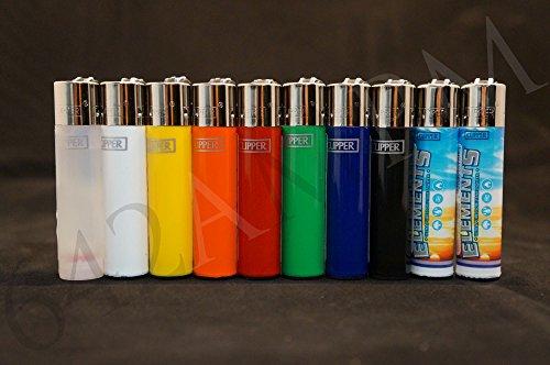 10 New Refillable Original Clipper Lighters 8 Solid Colors & 2 Element Design